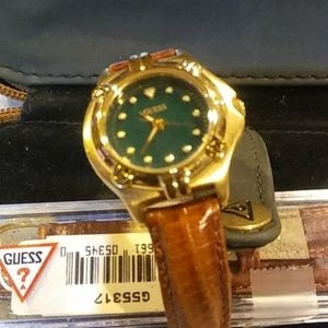 """""""Guess"""" Vintage 1995 Leather and Crystal Watch"""